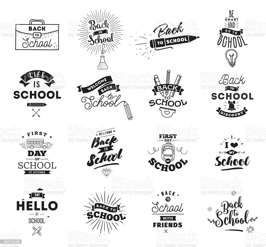 Back to school typographic labels set. vector art illustration