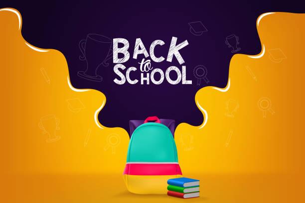 Back to School Vector Banner Design Illustration Background vector art illustration