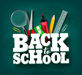 Back to school vector banner design with 3d title