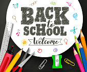 Back to school vector banner design with drawing