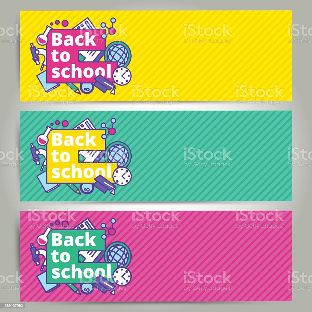 back to school vector banner or bookmark template design