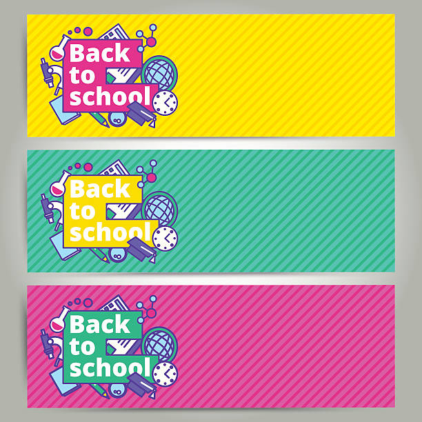 Back to school vector banner or bookmark template design. - Illustration vectorielle