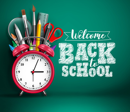Back to school vector banner with alarm clock. School supplies, other elements and red alarm clock
