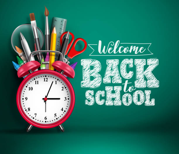 Back to school vector banner with alarm clock. School supplies, other elements and red alarm clock Back to school vector banner with alarm clock. School supplies, other elements and red alarm clock in green empty background with back to school text. Vector illustration. back to school stock illustrations