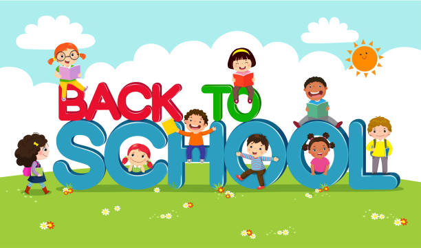 Back to school vector banner with school kids characters Back to school vector banner with school kids characters elementary age stock illustrations