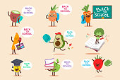 Back to school vector cartoon concept illustration with fruit and vegetable set.