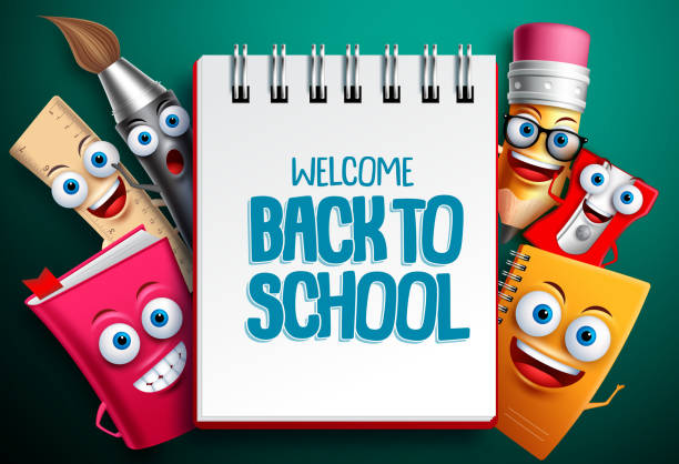 back to school vector characters background template with white empty space - primary school stock illustrations, clip art, cartoons, & icons