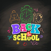 Back to school vector design with colorful texts and education related drawing elements in textured black background. Vector illustration.