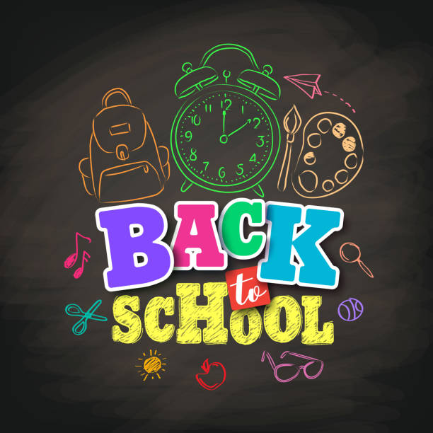 back to school vector design with colorful texts and education - primary school stock illustrations, clip art, cartoons, & icons
