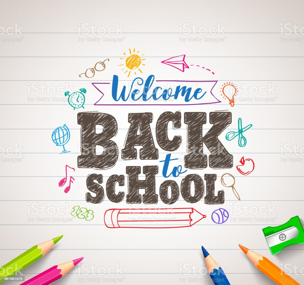 Back to school vector drawing in paper with colorful crayons vector art illustration