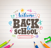 Back to school vector drawing in paper with colorful crayons