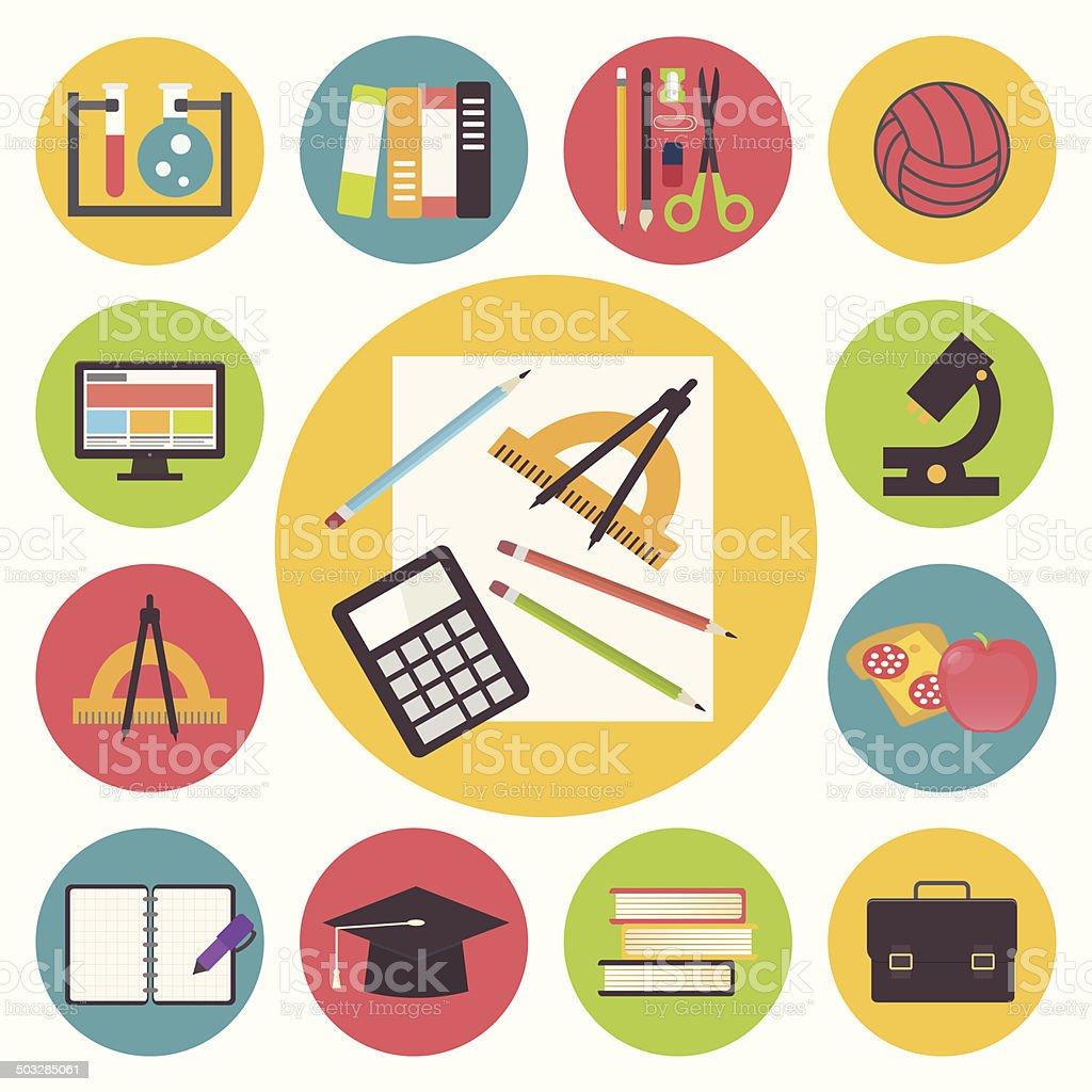 Back to school, vector icons set, flat design illustration. vector art illustration