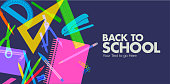 Colourful overlapping silhouettes of school equipment.