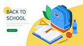 Back to school concept with text place. Can use for web banner, infographics, hero images. Flat isometric vector illustration isolated on white background.