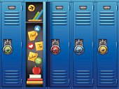 Back to school lockers and back to school theme. EPS 10 file. Transparency effects used on highlight elements.