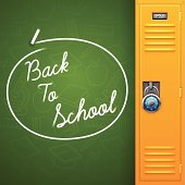 Back to school chalkboard background with space for copy. EPS 10 file. Transparency effects used on highlight elements.