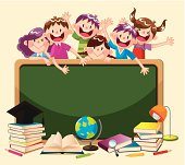 Back to School,6 cute kids are playing,vector illustration
