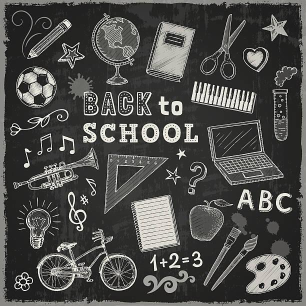 zurück to school - fußballkunst stock-grafiken, -clipart, -cartoons und -symbole