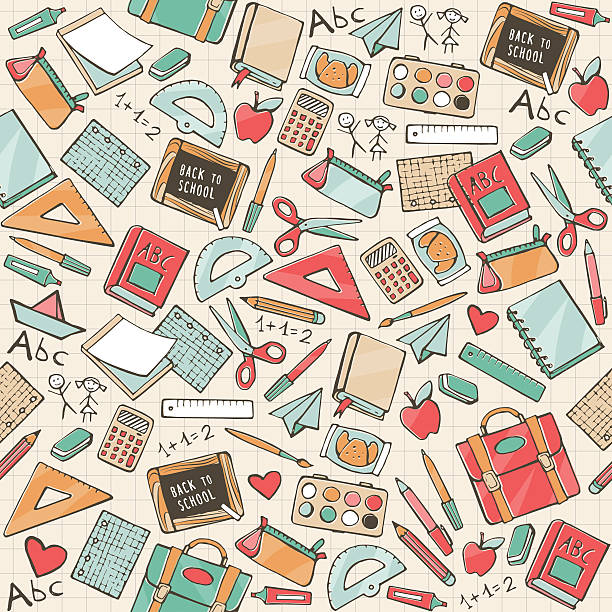 Back to school Back to school seamless pattern with hand drawn school supplies, books and stationery elementary school teacher stock illustrations