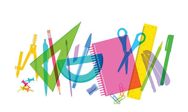 学校に戻る  - 学校の文房具点のイラスト素材/クリップアート素材/マンガ素材/アイコン素材