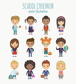 Set of vector cute school children isolated on white background. Different nationalities and dress styles pupils.