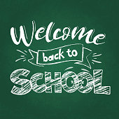Back to school greeting on green blackboard, First day of school sale. Vector
