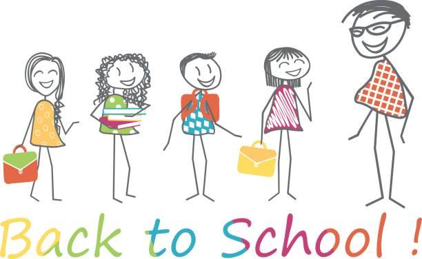 ilustraciones, imágenes clip art, dibujos animados e iconos de stock de vuelta a la escuela - regreso a clases