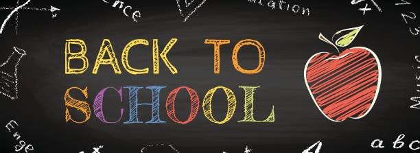 Back to School Back to School. Chalk text and drawing on blackboard. elementary school teacher stock illustrations