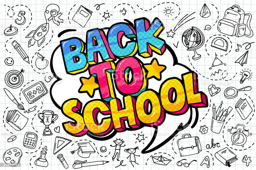 Back to school. vector art illustration