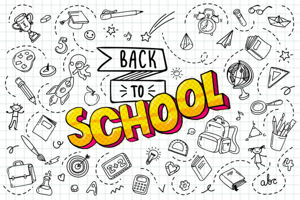 Back to school. Concept of education. Back to school background. Freehand drawing school items. book backgrounds stock illustrations