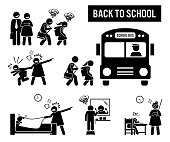 Stick figure pictogram depicts school children going back to school. The parent are happy, but the kids are sad. Icon set also show student or pupil going to school with a bus.