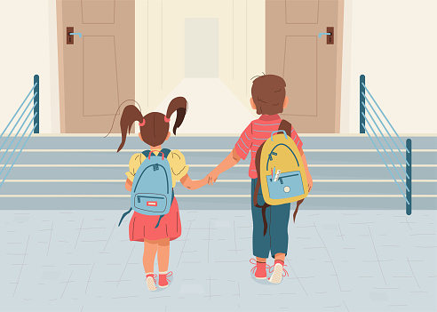 Back to school vector illustration background. Happy little boy and girl is going to school for the first time. They hold hands. Children with backpacks walk to open door through the stairs