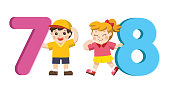 Back to School. Vector illustration set of school kids and colorful number shaped.