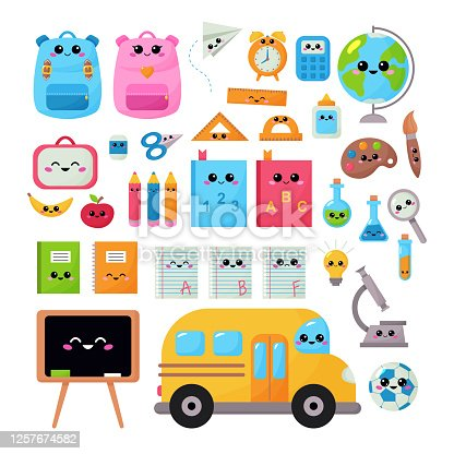 Back to school vector kawaii set for children. Educational clipart objects with kawaii face