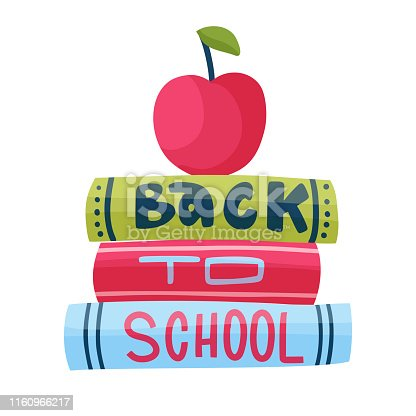 Hand drawn vector card and lettering quote. Cute cartoon art with books red apple and message. Back to school. Study illustration. Flat.