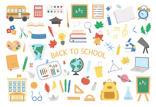 Back to school vector set of elements. Big educational clipart collection. Cute flat style classroom objects with supplies, school building, bus, subject icons, books, stationery.