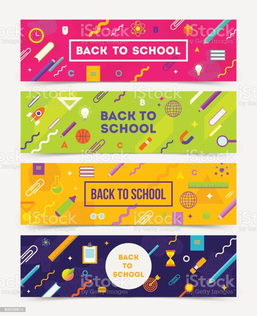 Volta para escola Vector set de banners horizontais - ilustração de arte em vetor