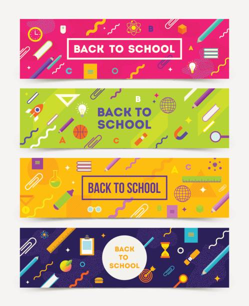 Back to School Vector set of horizontal banners Back to School Vector set of horizontal banners - colorful abstract backgrounds with school object and supplies. school supplies border stock illustrations