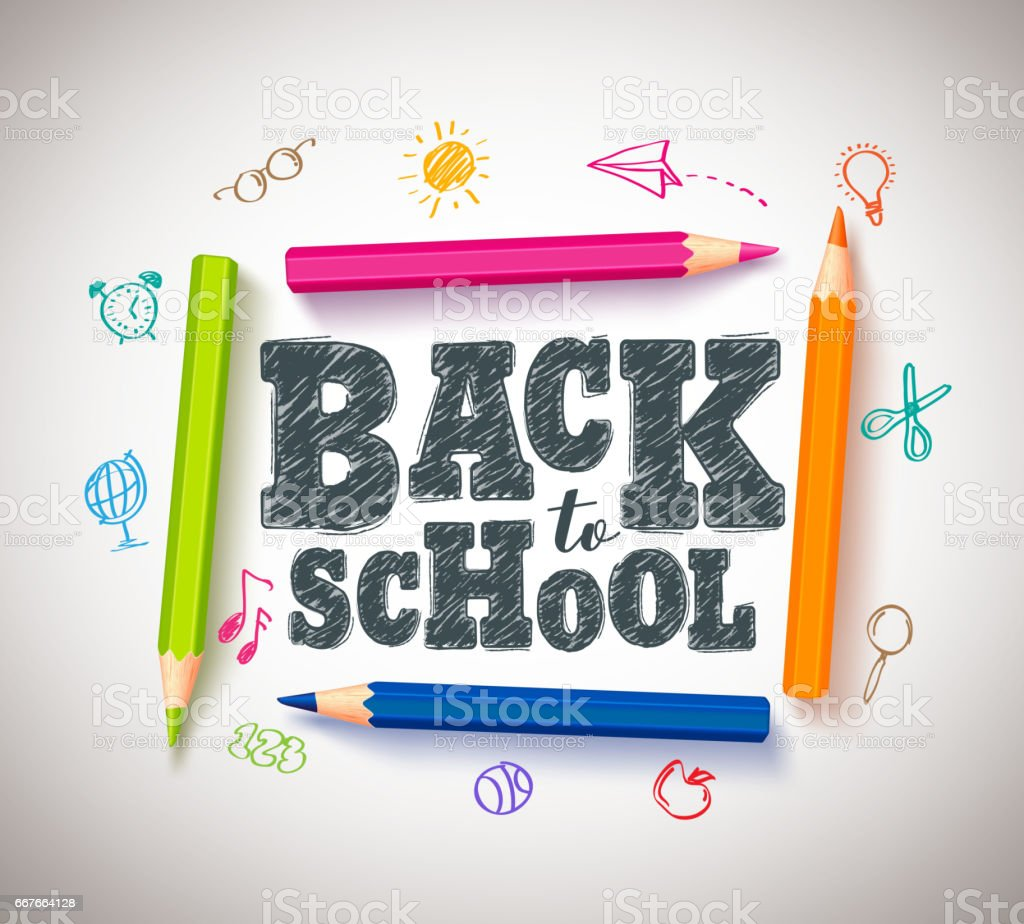 Back to school vector typography banner design with colorful crayons vector art illustration