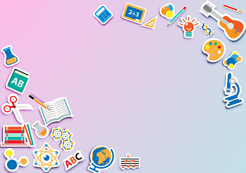 Back to school, Welcome to school with flat icon sticker vector