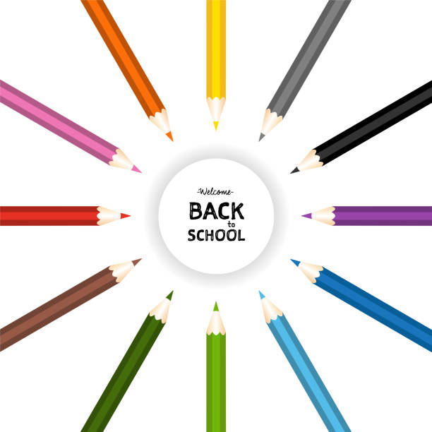 back to school with color pencils on isolated background. vector illustration - back to school stock illustrations