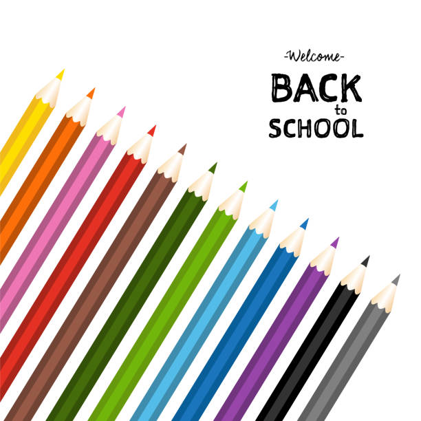 back to school with color pencils set. isolated vector illustration - back to school stock illustrations