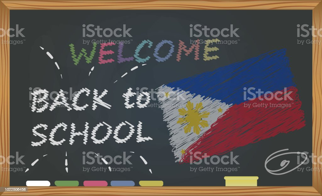 Back to school with learning and childhood concept. Banner with an inscription with the chalk welcome back to school and the Philippines national flag vector art illustration