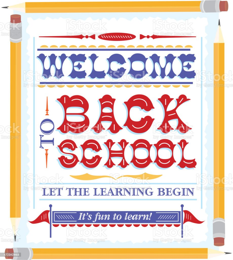 Back to school wordmark design template with pencil frame royalty-free stock vector art
