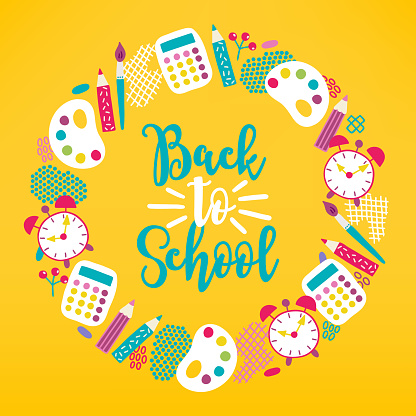Back to school wreath with pen, pencil, paints, calculator, clock