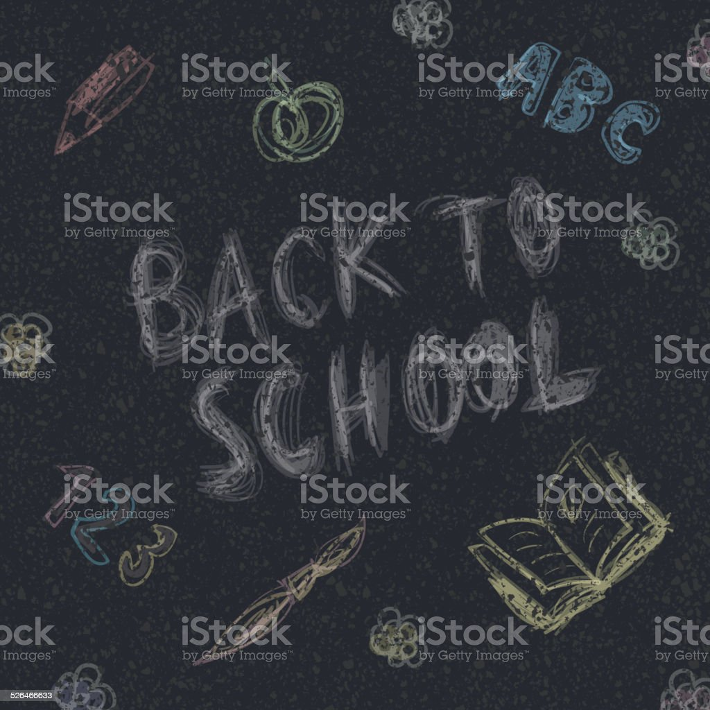 Back to school. Written by chalk on the asphalt background. vector art illustration