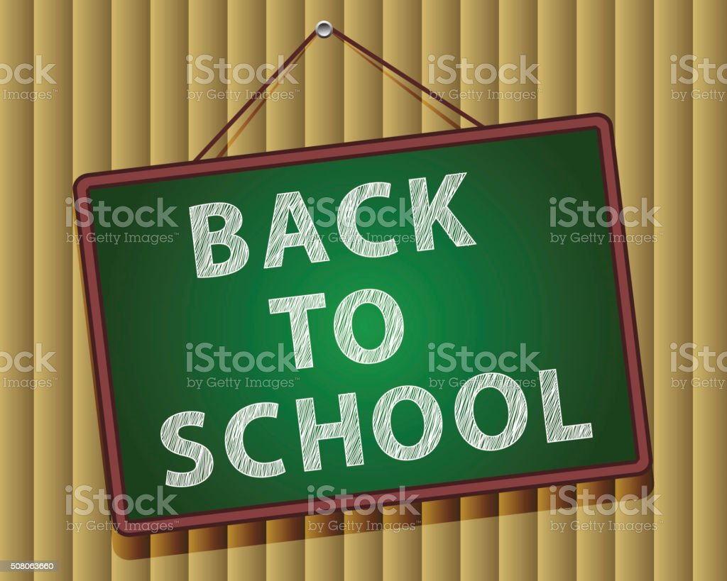 Back to school, written on blackboard with chalk, vector illustration. vector art illustration
