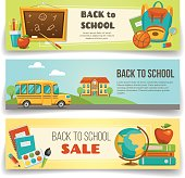 Back to school, set of horizontal banners with school supplies.