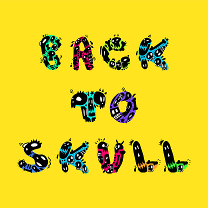 Back to Skull Funny Doodled Letters - Hand-Drawn Typography