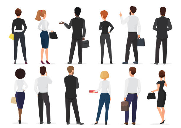 Back view of business office people group, man and woman characters standing together isolated vector illustration. Back view of business office people group, man and woman characters standing together isolated vector illustration back stock illustrations